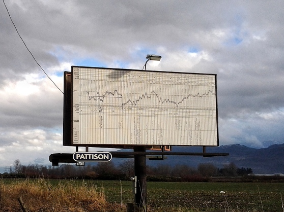 "Advertising Fertility (halfway to hope). This piece was placed on a billboard facing eastbound traffic on HWY 1, exactly halfway between Vancouver and Hope. As Polly explains, ""I started charting my temperature after suffering a devastating miscarriage and was hoping to gain some control over a situation that I clearly had no control over."""